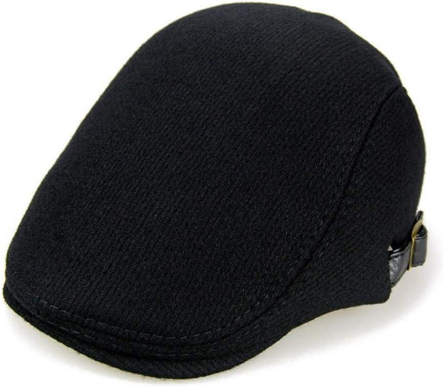 Hat Mens and Womens Winter Warm Woolen Beret Caps Adjustable Casual Cabbie Hats Color Black Grey Accessories (Color : Black)