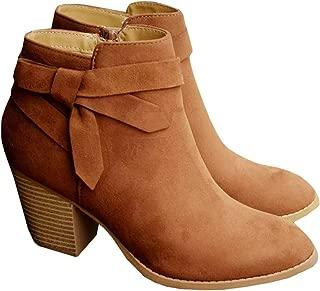 PiePieBuy Women's Tie Knot Chelsea Pump Ankle Boots Closed Toe Stacked Heel Booties Shoes