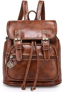 Women Mini Backpack Purse Fashion Retro PU Leather Rucksack Lightweight Casual Travel Shoulder Bag