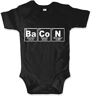 net-shirts Organic Baby Body aus Bio-Baumwolle mit Bacon Aufdruck Strampler Barbecue Grillen Foodporn Chemie Periodensystem Periodic System Chemische Elemente
