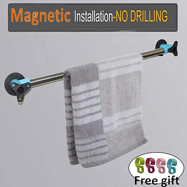 AUXPhome Magnetic Towel Bar Towel Rail Magnet Towel Hanger Stainless Steel 18 Inch No Towel