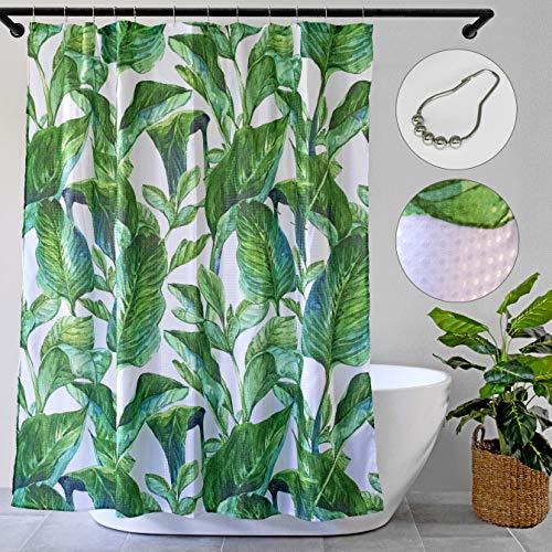 DREAMILY Duschvorhang mit tropischen Blättern, Waffelstruktur, mit 12 Rollhaken, Luxus-Spa-Hotel-Qualität, 183 x 183 cm, dekorativer Dschungelpalme, 3D-Druck