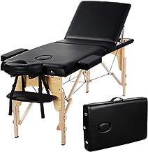 Yaheetech Hight Adjustable Massage Table Foldable Massage Bed Massage Therapy Table 3 Folding 84 Inch Salon Bed Facial Cradle Bed Black