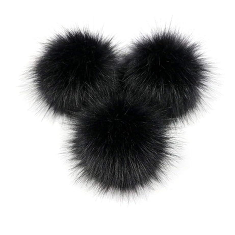 Kongqiabonaかわいいキツネの毛皮のポンポン取り外し可能な毛皮ふわふわボブルボールでプレスボタン用diy帽子キャップバッグ服靴の装飾