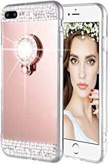 iPhone 7 Plus 8 Plus Case, Caka Rhinestone Series Glitter Luxury Cute Shiny Bling Mirror Makeup Case for Girls with Ring Kickstand Diamond TPU Case for iPhone 7 Plus 8 Plus (Rose Gold)