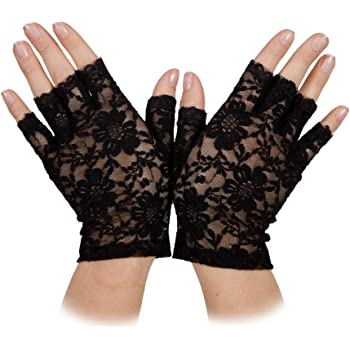 Fingerless Lace Gloves Ladies 80s Fancy Dress Accessory