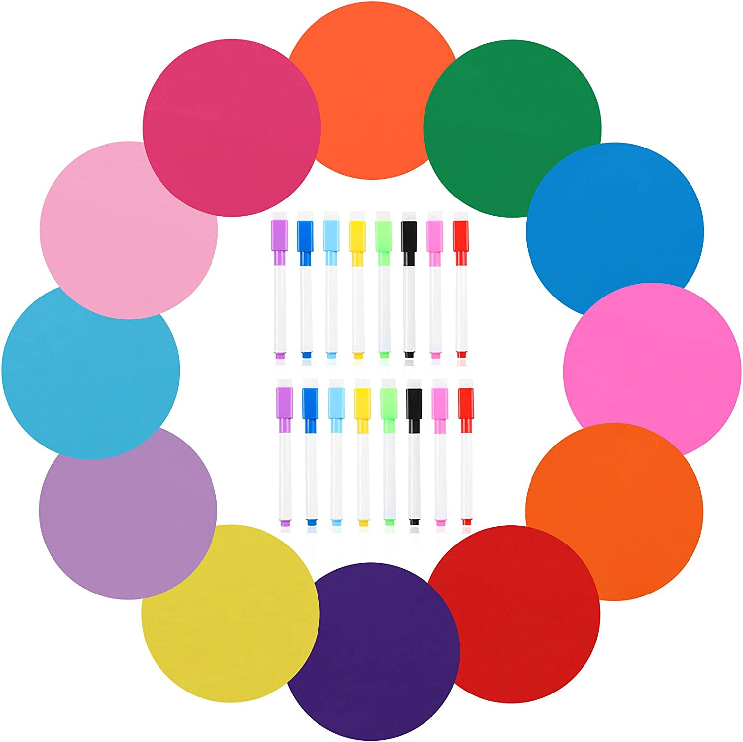 28 Pieces Dry Erase Board Marker Set 12 Colors Dry Erase Circles for Teachers Removable Vinyl Circles 11'' Wall Stickers Multicolor Decals Table Spots for Home Office School Classroom Decorations