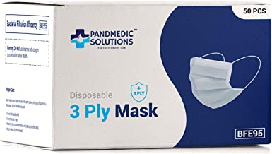 PandMedic 3 Layer Face Mask (50 Pack) Made in USA - Lightweight Breathable and Comfortable PPE - Single Use Face Mask for ...