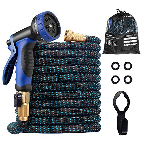 Expandable Garden Hose, 2021 Upgraded 75ft Water Hose with Superior Strength 3750D & 10 Function Spray Nozzle, Flexible Hose with 4 Layers Latex, 3/4 Solid Brass Connectors for Watering and Washing