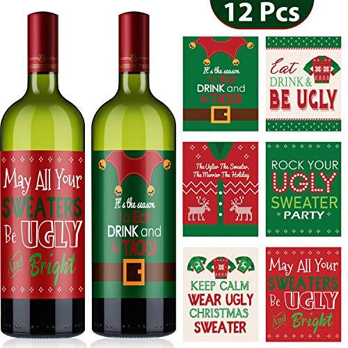 Blulu 12 Stücke Weihnachten Party Wein Flasche Dekoration Weihnachten Weinflasche Etikette Aufkleber Weihnachten Set für Weihnachten Party Dekor Lieferung, 6 Stile (Hässliche Pullover Stil)