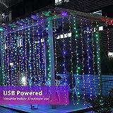 Fulighture LED Lichtervorhang,3M * 3M 300 LEDs USB Lichtervorhang mit Fernbedienung,IP67 Wasserfest,Bunt,8 Modi Lichterkettenvorhang für Weihnachten Party, Innen und außen Deko [Energieklasse A+] - 7