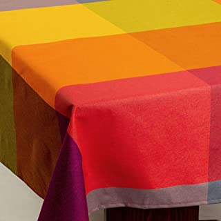 Amelie Michel Wipe-Clean Tablecloth in Durero Multi-Color   Authentic Spanish Acrylic-Coated 100% Cotton Fabric   Easy Care, Spill Proof [60