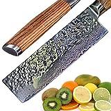 Ruka Damasco - Cuchillo de cuchilla de acero (aspecto martillado, corte japonés de 67 capas, Damasco con mango ergonómico, 17cm Couteau Nakiri