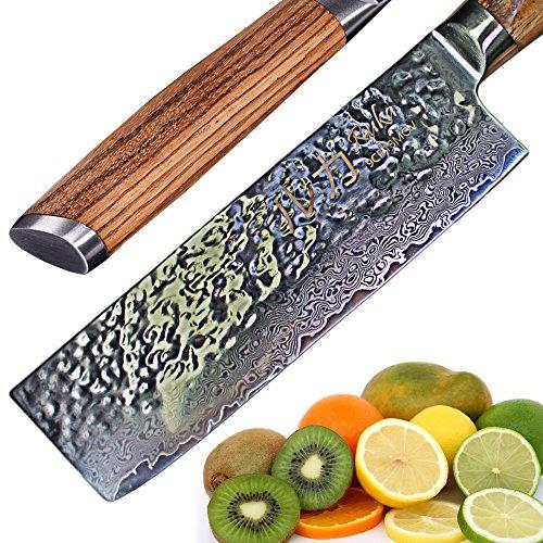 RUKA Cuchillo Nakiri de acero de 17 cm en Damasco, aspecto martillado,...