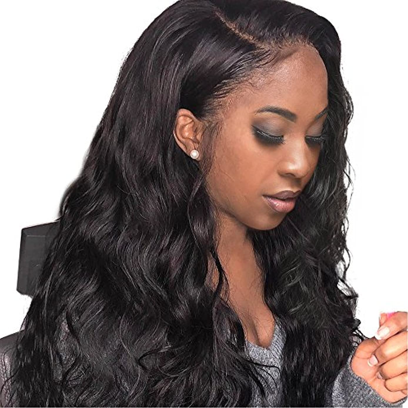 Body Wave Wigs For Black Women Human Hair 14inch Pre Plucked Lace Front Wigs Human Hair With Baby Hair 130% Density Natural Black Color shuangya hair