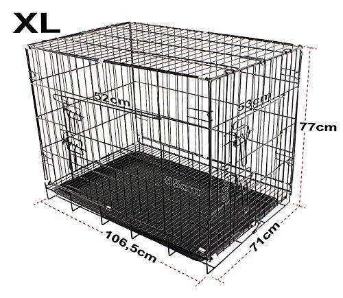 Gabbia per Cani in Metallo, 2 Porte Trasportino Cuccioli Pieghevole Nero (XL 106,5x71x77)