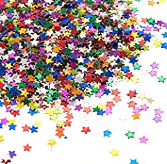 STAR-SHAPED CONFETTI: One pack of confetti with star-shaped cutouts confetti for your special celebration or event. ALWAYS ENOUGH TO THROW AROUND: 7 ounces of table confetti means there's always enough to throw at birthday parties, baby showers, on V...