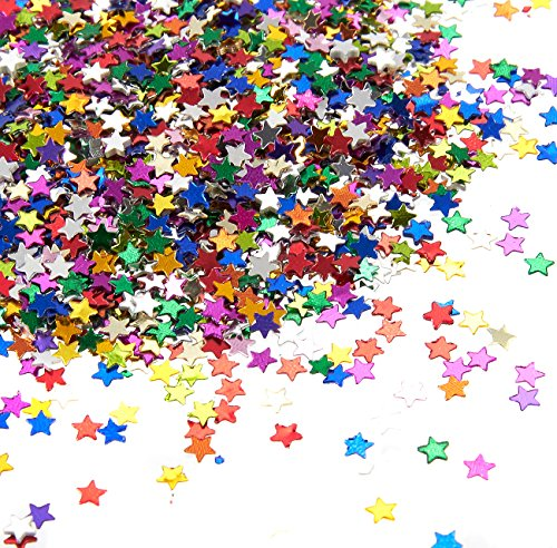 Star Confetti - Metallic Glitter Foil Confetti Star Sequins - Ideal for Balloons, Tables, Art Crafts, Wedding Festival Party Supplies, DIY Decorations - Multicolor, 0.1 inches, 7 Once