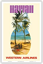 Pacifica Island Art Hawaii - Western Airlines - Vintage Airline Travel Poster c.1970s - Master Art Print - 12in x 18in