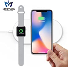 Dual Wireless Fast Charger, 2-in-1 Wireless Charging Pad Induction Charger Base for (i) Watch Series 4/3/2/1 & (i) Phone XS Max (iPhone 8 Plus Galaxy S8/S9/Plus/Note 8/S7 & All Qi-Enabled Device