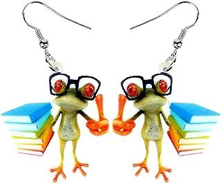 NEWEI Acrylic Sweet Cartoon Teacher Frog Earrings Drop Dangle Fashion Animal Jewelry for Women Girls Teens Gift Charms
