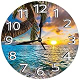 Mailine Horloge Murale Sunrise Beach Eau de mer Elliptique Arbre Horloge Murale décorative Silencieux Non Ticking