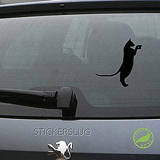 Stickerslug Standing Pouncing Simple Curious Feline Cat Silhouette Gloss Vinyl Decal Sticker for Cars, Trucks, Vans, Windows, Crafts e20278 (Black, 8 inch)
