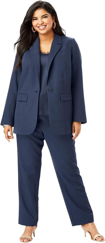 Roamans Women's Plus Size Straight-Leg Pantsuit with Blazer