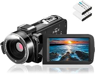 Video Camera Camcorder, Aasonida Digital YouTube Vlogging Camera Full HD 1080P 24MP 3.0 Inch 270 Degree Rotation Screen 16X Digital Zoom Webcam Recorder with 2 Batteries
