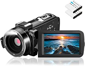 Video Camera Camcorder, Aasonida Digital YouTube Vlogging Camera Full HD 1080P 24MP 3.0 Inch 270 Degree Rotation Screen 16X Digital Zoom Webcam Recorder with 2 Batteries