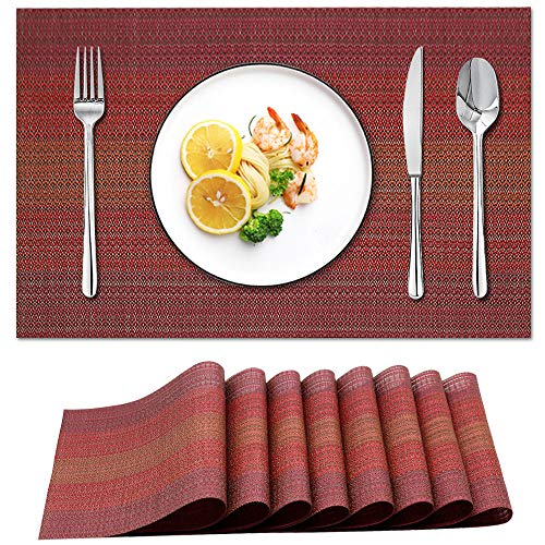 Candumy Red Placemats for Dining Table Set of 8 Washable Tablemats Wipe Clean, Heat Stain High Temperature Resistant;Anti-Skid Non-Slip Insulation