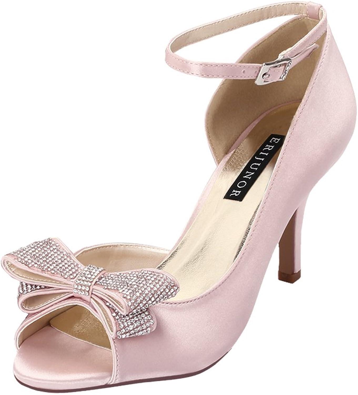 ERIJUNOR Women Comfortable Middle Heel Peep Toe Bows Rhinestones Satin Wedding Evening Party shoes