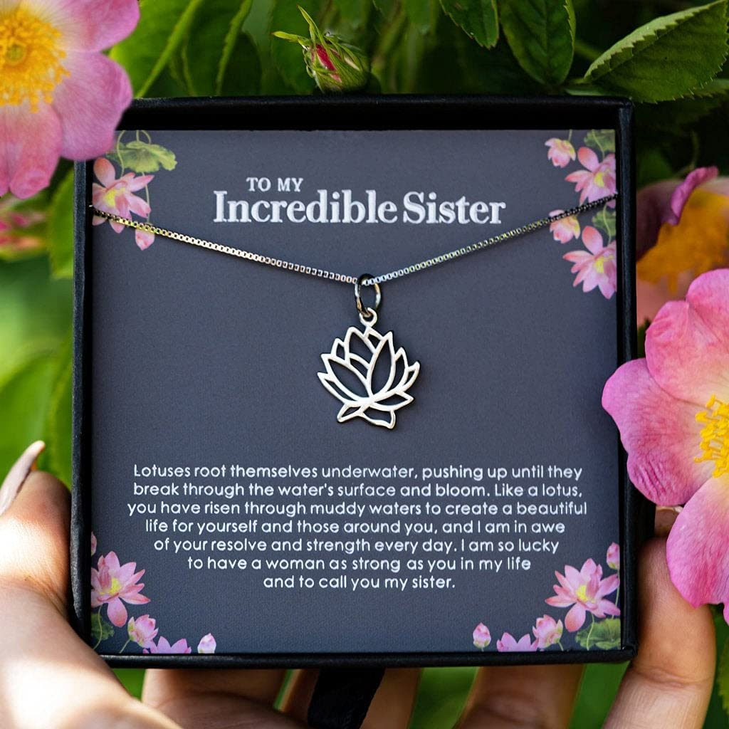 Superlatite To My Sister Clearance SALE! Limited time! - Silver Lotus Necklace Birthday Gifts on Christm
