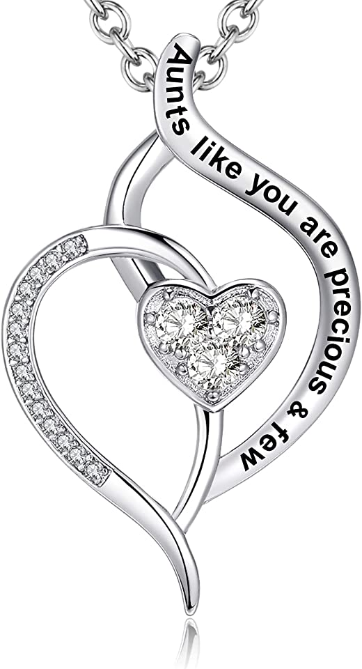 Mother's Day Gifts for Aunty, Aunts like You Are Precious & Few Love Heart Pendant Necklace, Fashion Jewelry for Women, Her Birthday Anniversary Christmas Presents from Niece and Nephew
