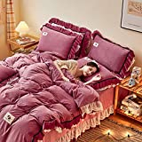 funda nordica cama 135-Invierno gruesa cálida funda nórdica extragrande cama individual individual y de doble cara regalo de cama de franela de terciopelo de cristal-H_Cama de 2,0 m (4 piezas)