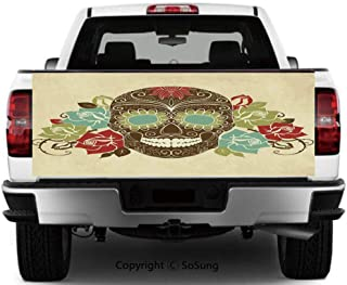 Sugar Skull Decor Vinyl Wall Stickers,Skull and Roses Colorful Vintage Composition Smiling Gothic Face Artistic Decorative Cars Trucks Decorative Decal Sticker,65x25 Inches,Multicolor