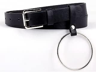 Exaggerated Round Metal Circle Belts Big Ring Belt Wild Jeans Belt Black