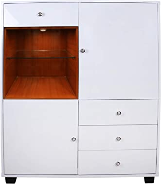 bentex home decor - standard crockery cabinet/bar/multi storage unit with white pu polish and open shelves with led light for