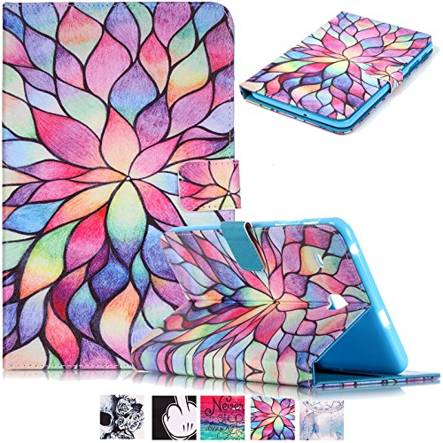 Galaxy Tab E 8.0 Case-UUcovers Slim Stand Soft TPU Flip Case Wallet Cover with Card Slots for Samsung Galaxy Tab E 8.0 SM-T377 4G LTE Verizon/SM-T375 Tablet,Lotus