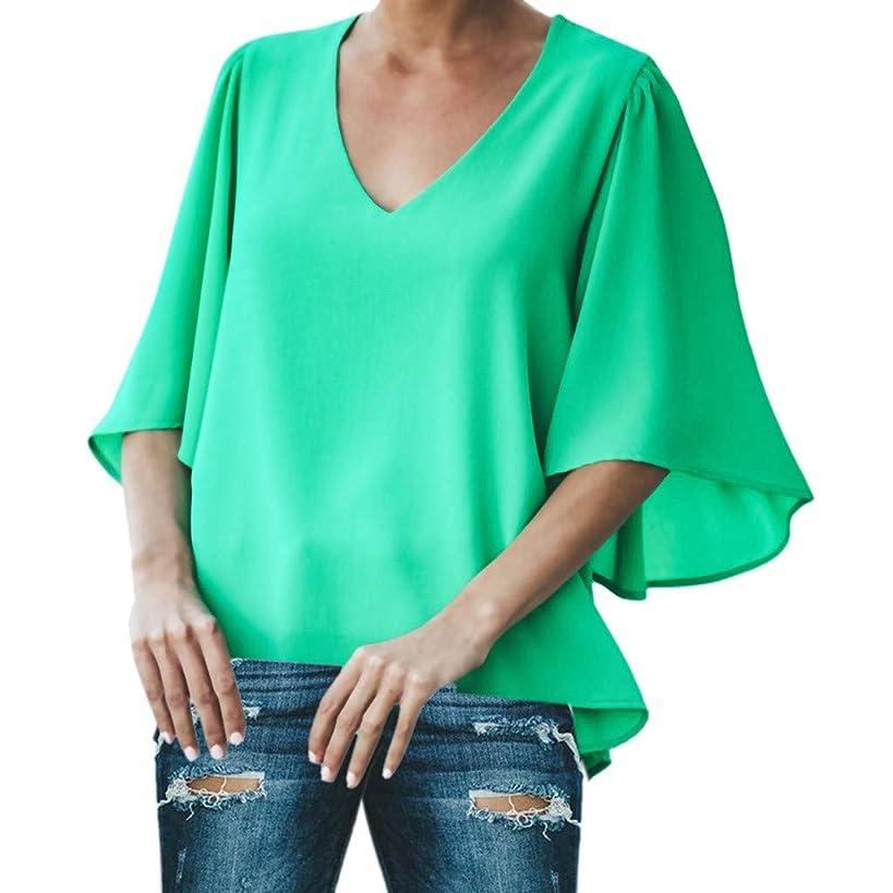 Respctful??Women's Fashion 2019 Chiffon Blouse V Neck Short Short Sleeve Loose Top Shirts