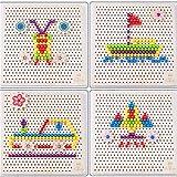 NINI Rompecabezas de Madera para niños de champiñones para niños 3D, Juegos educativos para niños y niñas, Bricolaje Multicolor y Varios Tipos de Rompecabezas