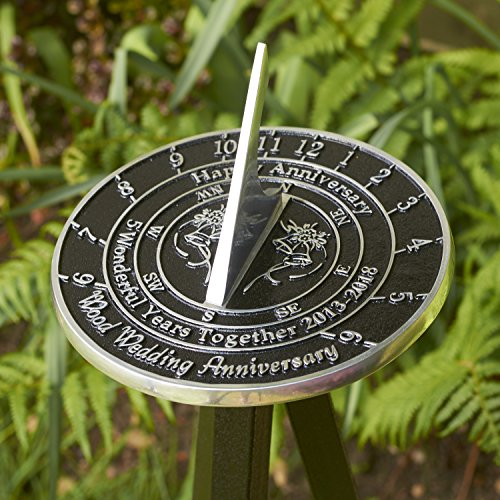 The Metal Foundry 5th Wood Wedding Anniversary 2018 Sundial Gift Idea is A Great Present for Him, for Her Or for A Couple to Celebrate 5 Years of Marriage