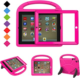 BMOUO Kids Case for iPad 2 3 4 - Shockproof Hard Cover Convertible Handle Stand Kids Case with Built-in Screen Protector for Apple iPad 2nd 3rd 4th Generation (Rose)