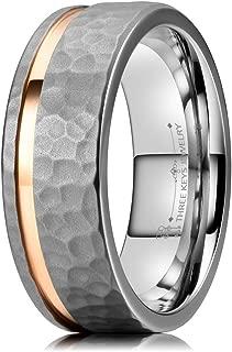 6mm 8mm Hammered Facet Matte Titanium Wedding Ring with Rose Gold Stripe Wedding Band