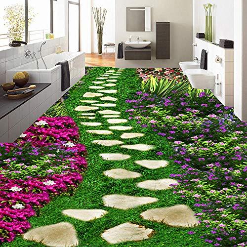 Papel tapiz floral 3D para suelo de piedra, pequeña carretera, pegatina de Pvc 3D, autoadhesivo, Mural 3D, suelo moderno, decoración del hogar 250x175cm
