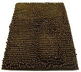 Tappeto da bagno camera ingresso e cucina, a pelo lungo 2.5 cm, materiale in microfibra, scendi doccia morbida, assorbente, lavabile in lavatrice, retro in gomma antiscivolo, marrone 50x80cm