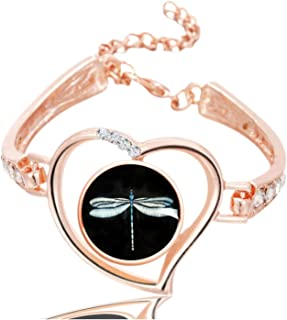 Image Custom Fashion Design Glass Snap Buttons Crystal Heart Bracelet & Bangles Jewelry Charms Rose Gold