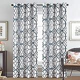 H.VERSAILTEX Natural Linen Blended Geo Curtains Casual Textured Flax Grommet Window...