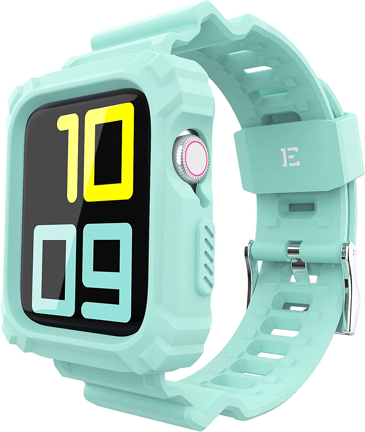 ExoGuard Designed for Apple Watch Bands 42mm 44mm Series with Case, Sports Style Shockproof Bumper Case with TPU Replacement Strap Bands Applicable to iWatch Series 6/5/4/3/2/1/SE - Mint Green