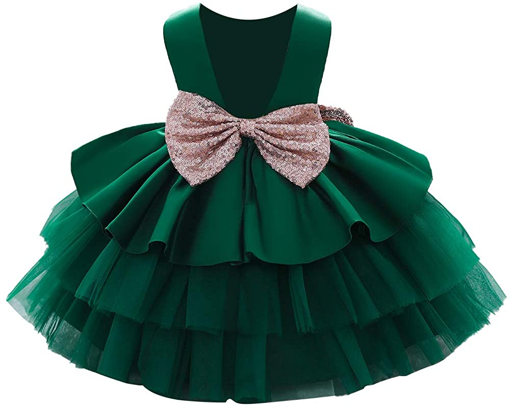 WZSYGDTC Baby Girls unisex Bowknot Flower Birthday Dresses Long-awaited Party Dresse